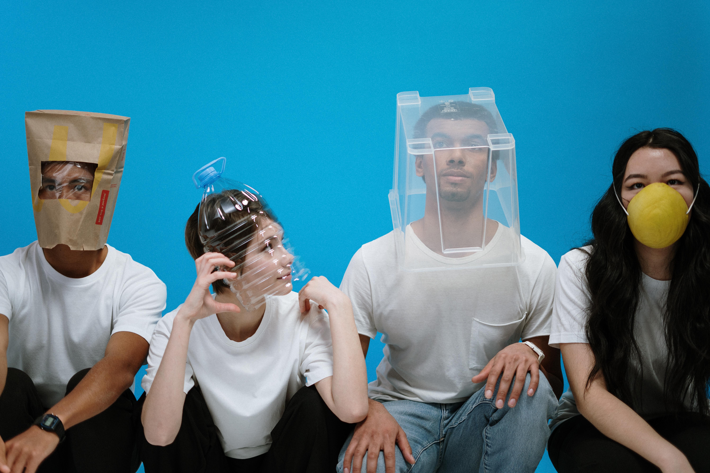 people wearing mixed masks