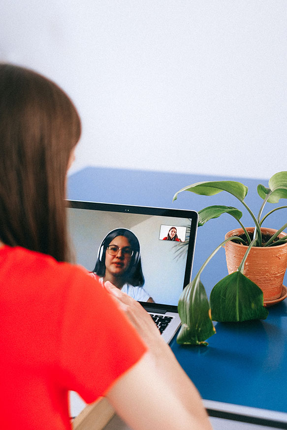 lady on video call